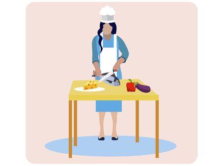 Woman cooks food, isolated on pink background. In minimalist style. Cartoon flat vector Ilustração
