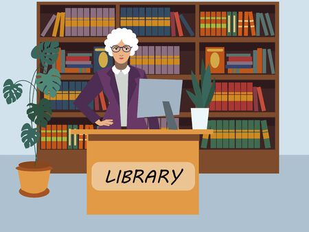 Librarian library visitor services specialist. In minimalist style. Cartoon flat vector