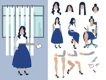 Big set for the animation of a businesswoman character on a white background. View straight, side, back flat Ilustração