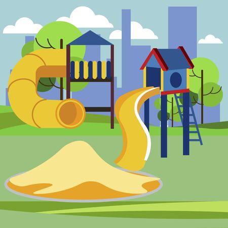 Children playground, kindergarten play. Cartoon vector flat