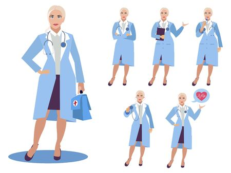 Set, isolated on white background woman doctor. Different poses, tools. Cartoon vector flat