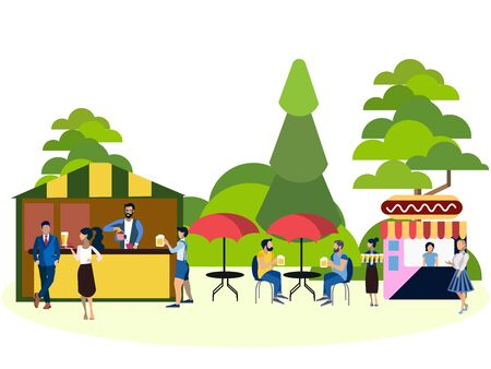 Recreation park, people and food area. In minimalist style. Cartoon flat raster