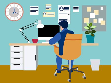 Programmer at work concept. Can use for web banner, infographics, hero images. In minimalist style. Flat isometric raster Banco de Imagens