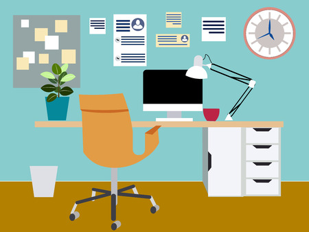 Office, workplace. Programmer or illustrator room. In minimalist style. Flat isometric raster