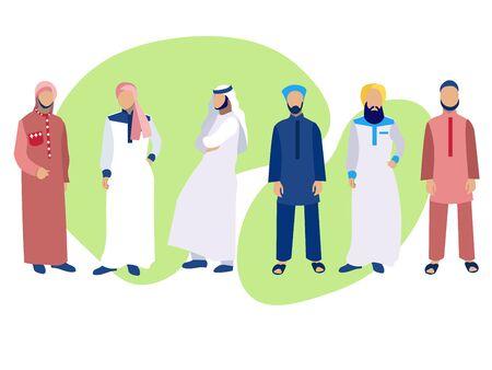 Set of six men, a group of Arabs in national dress. In minimalist style. Cartoon flat raster