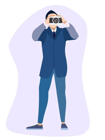 Isolated object. The man in the suit is a photographer. In minimalist style. Cartoon flat raster