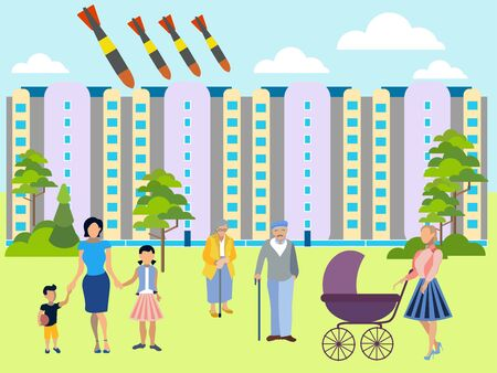 The threat of atomic war. Residential yard, families walk with children. Bombs fly on the city. In minimalist style. Flat isometric raster illustration