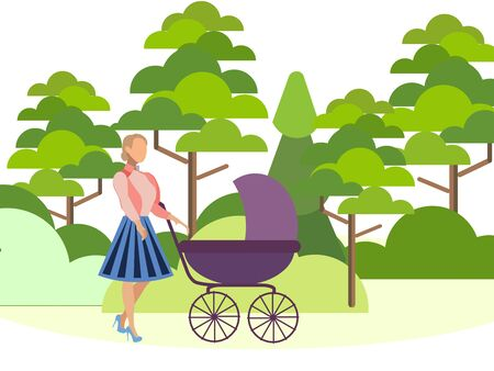 Mother walks in the forest with a baby carriage. Can use for web banner, infographics, hero images. In minimalist style. Flat isometric raster