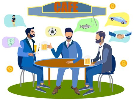 Young cheerful multiethnic people drinking beer and watching football match in the bar. Happy friends with beer in sport bar. In minimalist style. Flat isometric raster