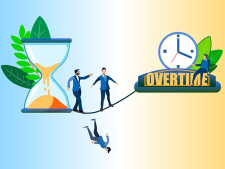 Overtime, disambiguation. Abstract concept, businessmen moving from an hourglass. In minimalist style. Cartoon flat raster Banco de Imagens