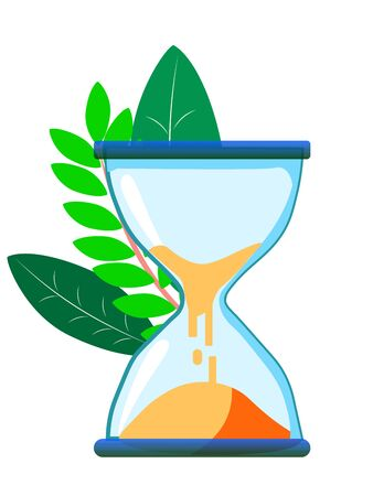 Hourglass Abstract concept, a businessman sits on a clock. In minimalist style. Cartoon flat