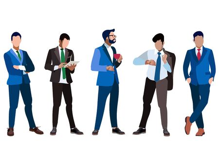 A set of businessmen five people. Isolated on white background. In minimalist style. Cartoon flat Raster