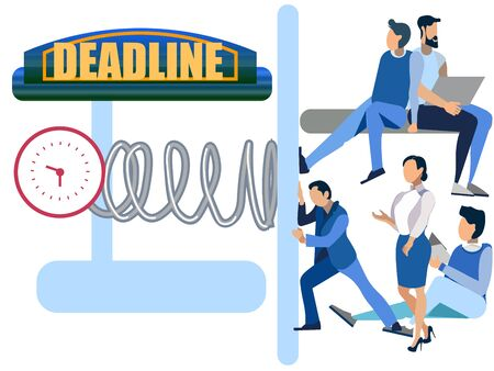Deadline abstract concept, businessmen clockwork presses, crushes people. In minimalist style. Cartoon flat raster