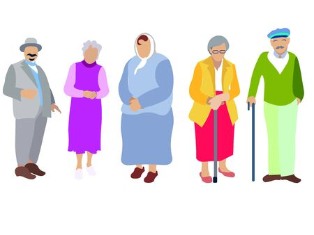 A set of people, pensioners, grandparents. Isolated on white background. In minimalist style. Cartoon flat raster