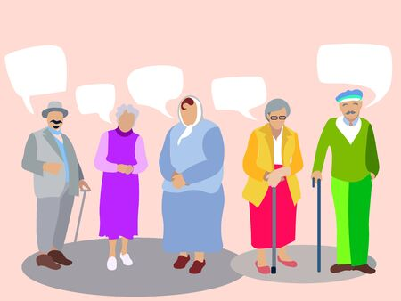 A set of people, pensioners, grandparents. Isolated on white background. In minimalist style. Cartoon flat raster Text bubble Banco de Imagens