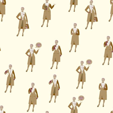Set, seamless background in retro colors. woman doctor. Different poses, tools. Cartoon vector flat