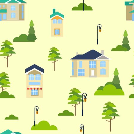 Seamless pattern. Street of houses and trees. Infinite city. In minimalist style. Flat isometric