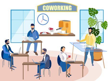 Interior coworking. People work. In minimalist style. Flat isometric raster Banco de Imagens