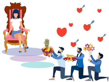 Valentine Day, offering gifts to women. In minimalist style. Flat isometric raster Banco de Imagens