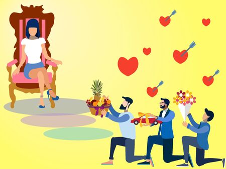Valentine Day, offering gifts to women. In minimalist style. Flat isometric raster on yellow background