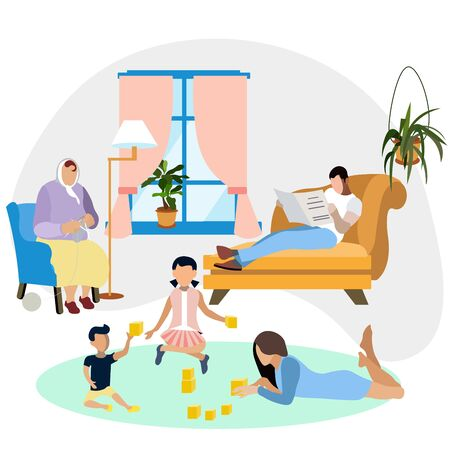 Family environment. Family resting at home. Interior room. In minimalist style. Flat isometric