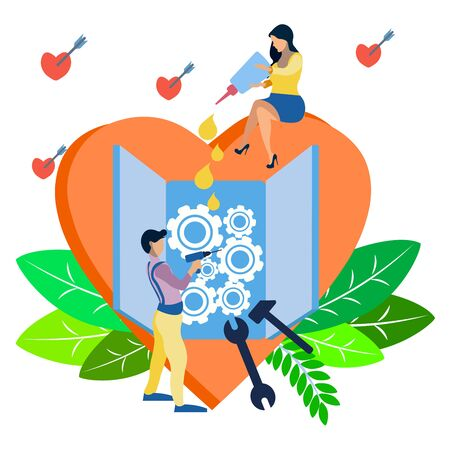 Valentines Day. Couple in love mending a broken heart. In minimalist style. Flat isometric