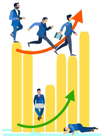 Business people running on the bar chart. Can use for web banner, infographics, hero images. In minimalist style. Flat isometric raster