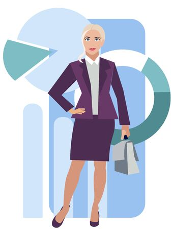 Male business woman in a business suit with a briefcase. Cartoon vector flat Ilustração