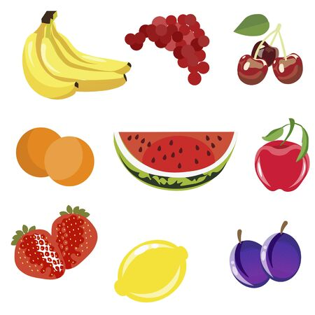 Set of fruits isolated on white background. In minimalist style Cartoon flat vector 일러스트