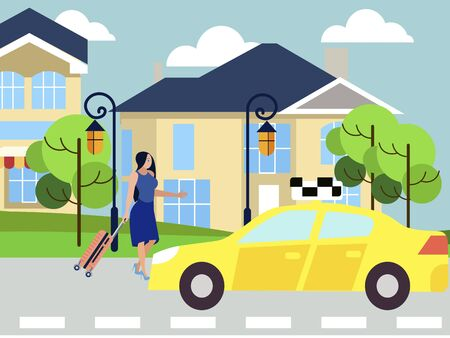 The girl calls a taxi, walks down the city street to the car. In minimalist style Cartoon flat vector Foto de archivo - 127544965