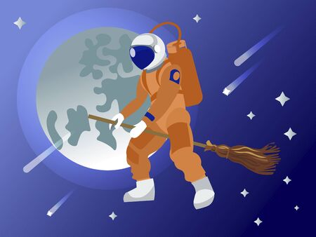 The astronaut flies on a broomstick in outer space. Fantasy. In minimalist style. Cartoon flat vector Ilustração
