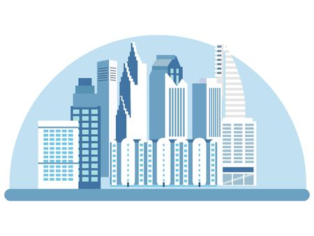 City, high rise buildings, streets. View of the attraction. In minimalist style. Cartoon flat vector Illustration