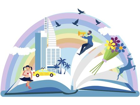 An open book from which the story is visible in the drawings. In minimalist style. Cartoon flat vector
