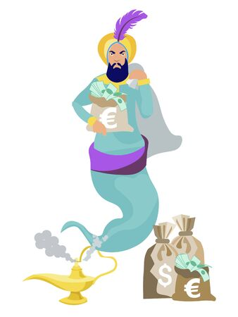 Jinn flies out of the lamp, in the hands of wealth, money, dollars. In minimalist style. Cartoon flat vector