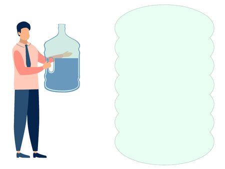 A man, a water delivery officer. Text bubble. In minimalist style. Cartoon flat Raster