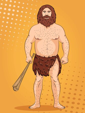 Neanderthal, pop art background. Imitation of comics style. Raster