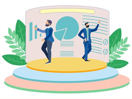 Business analytics. Business partners will present a sales report. In minimalist style. Cartoon flat raster Imagens - 128742732