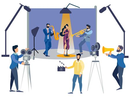 Film set people flat. In minimalist style. Cartoon flat raster Imagens