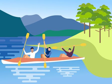 Canoe friends. In minimalist style. Cartoon flat raster Standard-Bild - 128742727