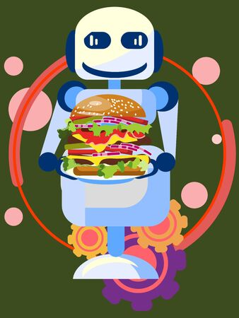 Robot seller presents a new tasty burger, food. In minimalist style. Cartoon flat raster Imagens