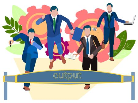 Output. Office staff run to the weekend. In minimalist style. Cartoon flat raster