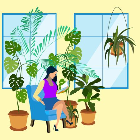 Woman reads a book in garden. Botanical plants. In minimalist style. Flat isometric raster