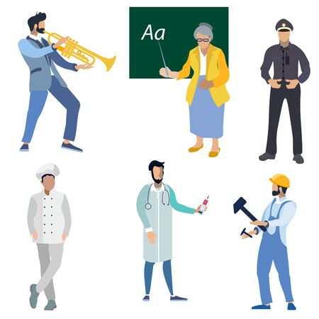 A set of professional people. Doctor, teacher, fireman, policeman, musician and mechanic. In minimalist style