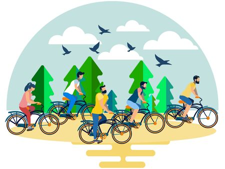 Friends, a group of people riding their bicycles in the forest. In minimalist style. Flat isometric