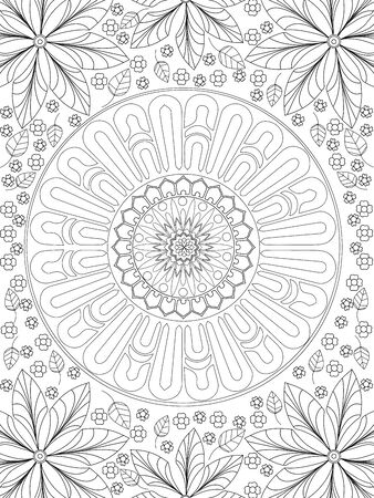 Background coloring antistress, drawings black lines and white background. Nature, flowers raster