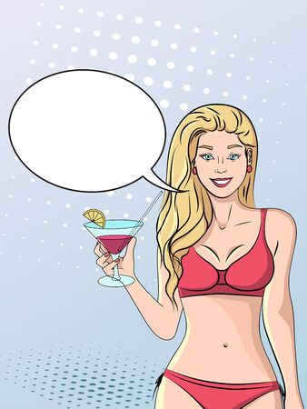 Pop art background, imitation of comics style. A beautiful girl in a bathing suit with a glass of cocktail walks along the beach. Raster illustration text bubble