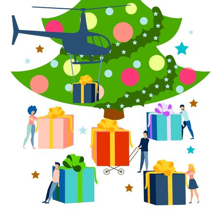 New year, holiday. Delivery of gifts under the tree flat. In minimalist style. Cartoon raster Illustration