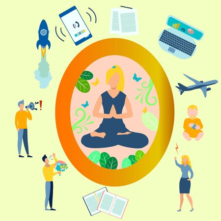 Yoga, the girl in the lotus position is closed from the problems. All the distractions are gone flat. In minimalist style. Cartoon raster Illustration