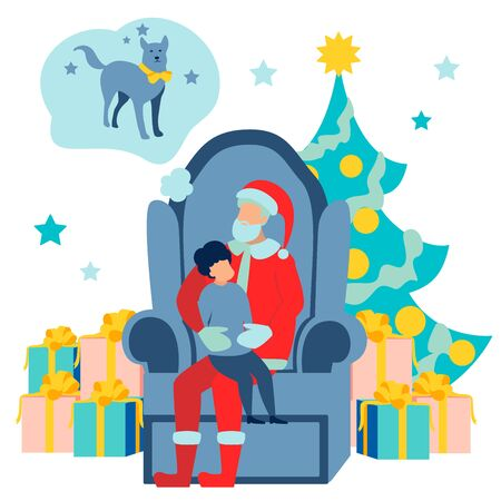 Christmas holiday, decorated tree and Santa Claus with kid sitting on lap. In minimalist style. Flat isometric raster illustration