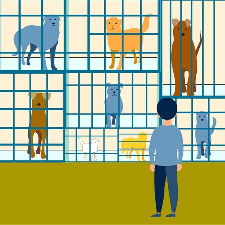 The boy chooses a dog in an animal shelter flat. In minimalist style. Cartoon Raster Illustration